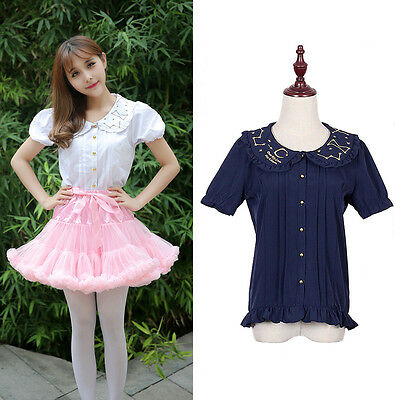 Lolita Blouse Moon Star Constellation Embroidery Shirt Blouse Top Sweet Girl