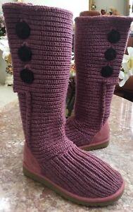 UGG-Australia-Purple-Classic-Cardy-Knit-Sweater-Tall-Boots-S-N-5819-Sz-US-6-EUC
