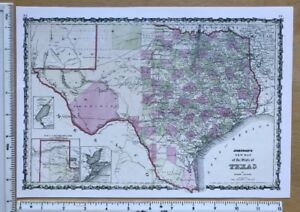Map Of Texas In 1800.Details About Antique Vintage Colour Map 1800 S Texas America 1863 12 5 X 9 Reprint
