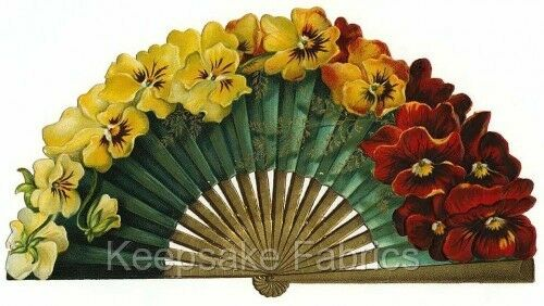 Gorgeous Gold Victorian Pansy Fan Quilt Block Multi Szs FrEE ShiPPinG WoRld WiDE