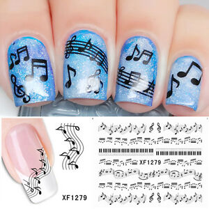 1pc Nail Water Decals Transfer Sticker Nail Art Musical Notes Set