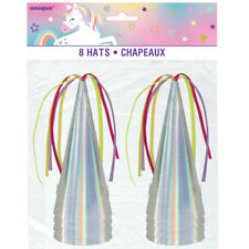 8 Pastel Unicorn Horn Party Hats Birthday Party Supplies Favors Iridescent Cone