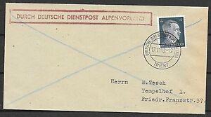 Trient covers 1943 cover Deutsche Dienstpost Alpenvorland/TRIENT