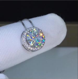 2.00 Ct Round Cut Sim Diamond Halo Women/'s Pendant Necklace 14K White Gold Over