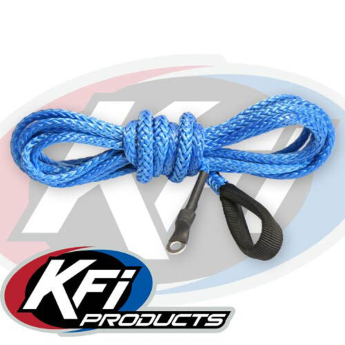 """SYN19-B12 KFI Products ATV Synthetic Winch 3//16/"""" x 12/' Plow Cable Rope BLUE"""