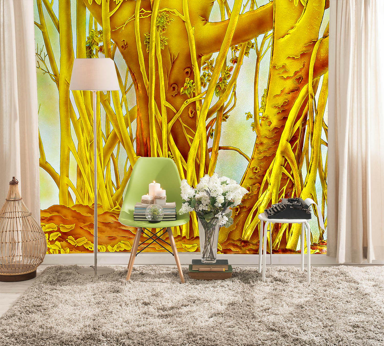 3D golden Trees Roots 2 Wall Paper Wall Print Decal Wall Deco Wall Indoor Murals