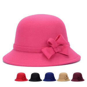 Details about EG  BA  WOMEN VINTAGE FAUX WOOL AUTUMN BOW LADY WIDE BRIM BUCKET  HAT CAP GIFT NI 988500845c5