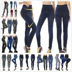 Women Casual Jeans Denim Looking Leggings Skinny Stretch Jeggings Pants Trousers