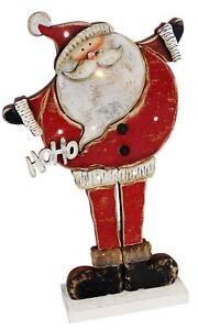 Merry-Ho-Ho-Ho-LIGHT-Up-LED-in-legno-Babbo-Natale-Babbo-Natale-in-Piedi-Decorazione