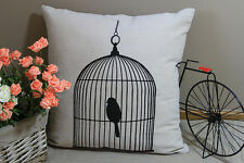 Zakka Vintage Cotton Linen Cushion Cover Home Decor Bird Cage