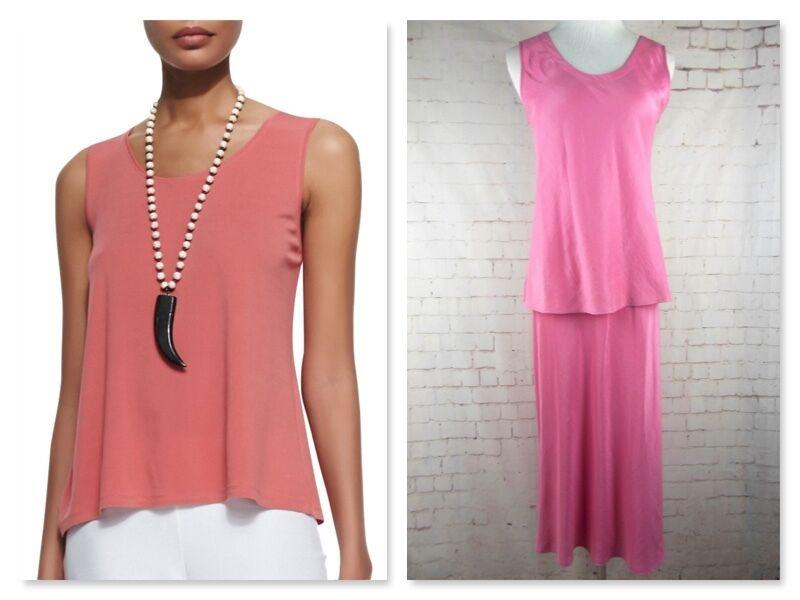 ..NWT EILEEN FISHER 100% SILK Pink Tank & Skirt Set Sz S