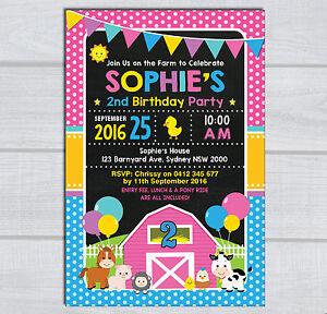 farm animal birthday invitation pink barnyard party invite baby