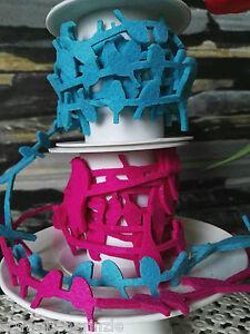 Candide 3 M Dekoband Stoffband Schalben Filzband Feutre Bande Oiseau Couleurs De Lumière Décoration-afficher Le Titre D'origine Art De La Broderie Traditionnelle Exquise