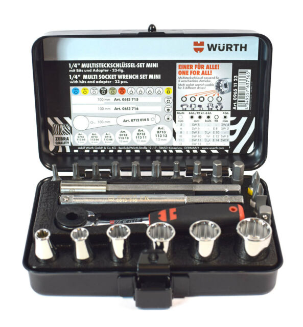 WÜRTH Mini Kit Chiavi a Bussola 1//4 Multiprofilo Professionali Kit 23pz