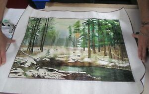Silk Threaded Embroidered Tapestry 29 x 21in - Pond & Trees - Very Lovely