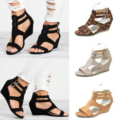 Summer Womens Peep Toe Wedge Casual Sandals Ladies Buckle T Strap Zip Shoes Size | eBay