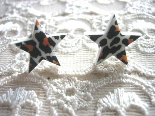 CHOOSE YOUR DESIGN KITSCH RETRO /'LUCKY STAR/' STAR STUD EARRINGS ROCKABILLY