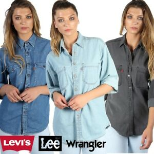 LEVIS-WRANGLER-LEE-DENIM-SHIRT-VINTAGE-RETRO-LONG-SLEEVED-XS-to-XXL