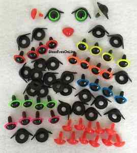 Amigurumi Safety Eyes And Noses : 12 Pair 18mm Safety Eyes With Lids & Nose Assort sew ...