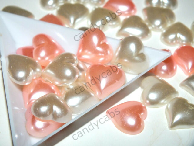CandyCabsUK 50pcs Mixed Flatback Faux Half Pearl Hearts 15mm HUGE Cabochons DIY