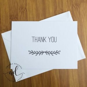 10 Pack Thank You Cards Kraft Or White Card With Matching