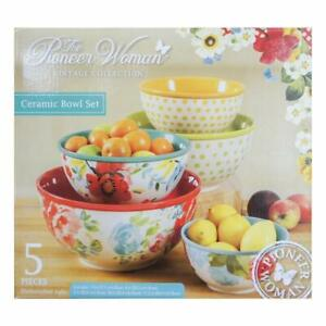 The-Pioneer-Woman-Vintage-Collection-5-Piece-Ceramic-Bowl-Set-NEW-in-Retail-Box