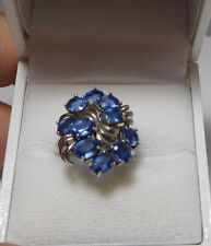Exquisite Sterling Silver Blue Natural Stone  Iolites Cluster Ring size 6