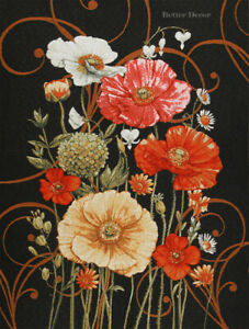 Wall Jacquard Woven Tapestry Red Poppies On Black European Floral Decor Picture Ebay