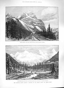 Original-Old-Antique-Print-1888-Canada-Railway-Selkirk-Stephen-Rocky-Mountains
