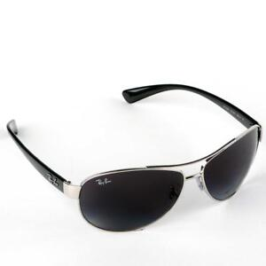 5ce7d95ea7 Ray-Ban Aviator Silver & Black Sunglasses With Grey Lenses, RB3386 ...