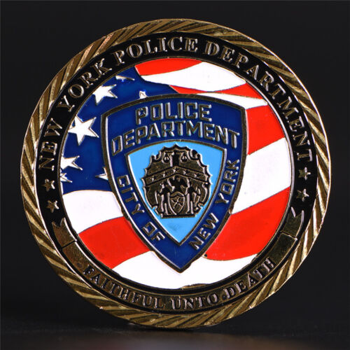 New York Police Department Gold Plated Commemorative Challenge Coin Collec ER