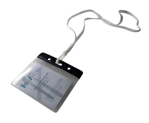 10 Security-Bänder mit PVC-Ausweishülle schwarze Kopfkante diverse Farben