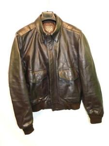 San-Diego-Leather-Size-42-Brown-Leather-Bomber-Jacket-A-2-Flight-Flyer-039-s-Coat-US