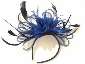 c58eb1eb110bd BESPOKE Navy and Royal Blue Fascinator on Headband UK Wedding Ascot ...