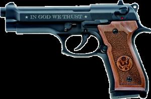 "Pistola a salve kimar 92 nera calibro 9 mm /""IN GOD WE TRUST/"""