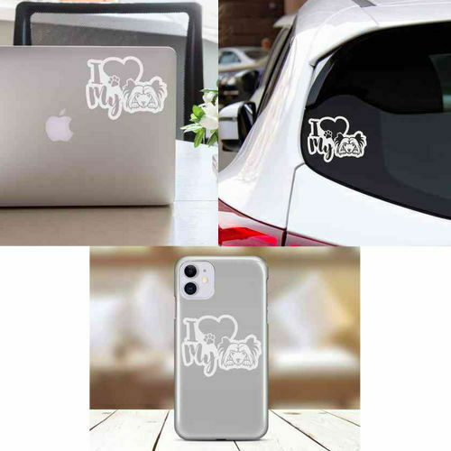 I Heart My Chinese Crested Powderpuff Dog Vinyl Decal Sticker Love Car Laptop