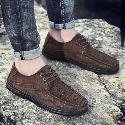 mens casual leather shoes hollow out breathable lace up