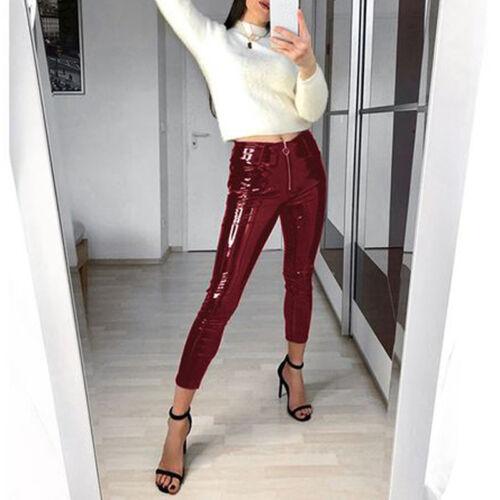Frauen Lack Leder Wet Look Leggings Zip Pants Skinny Glanz Disco Clubwear Hose