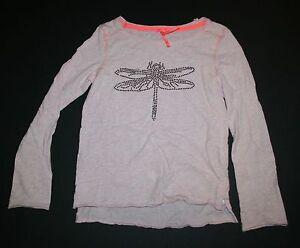 Neue-Weiter-UK-Rosa-Paillette-Libelle-Design-Top-Hemd-T-Shirt-Groesse-8-Jahr-128cm