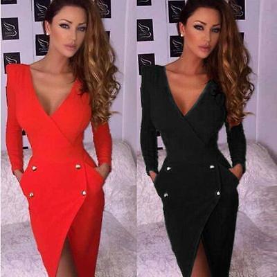 Women Classic Long Sleeve Deep V-neck Pencil Dress Party Button Bodycon UK