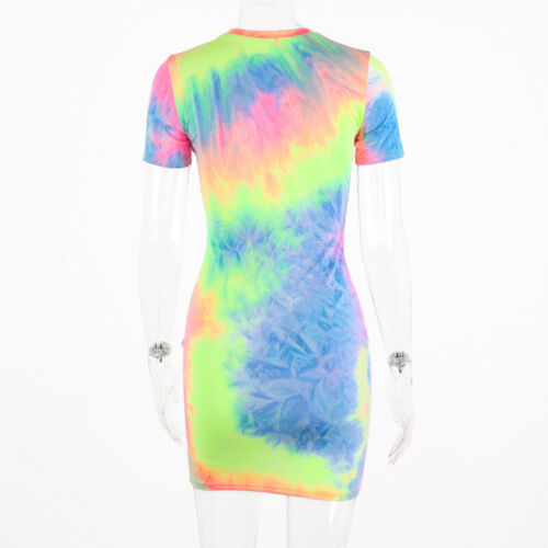 Women Casual Cocktail  Mini Dress Short Sleeves Tie-Dyed Bodycon Club Party
