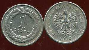 POLOGNE 1  zloty  1990   nickel