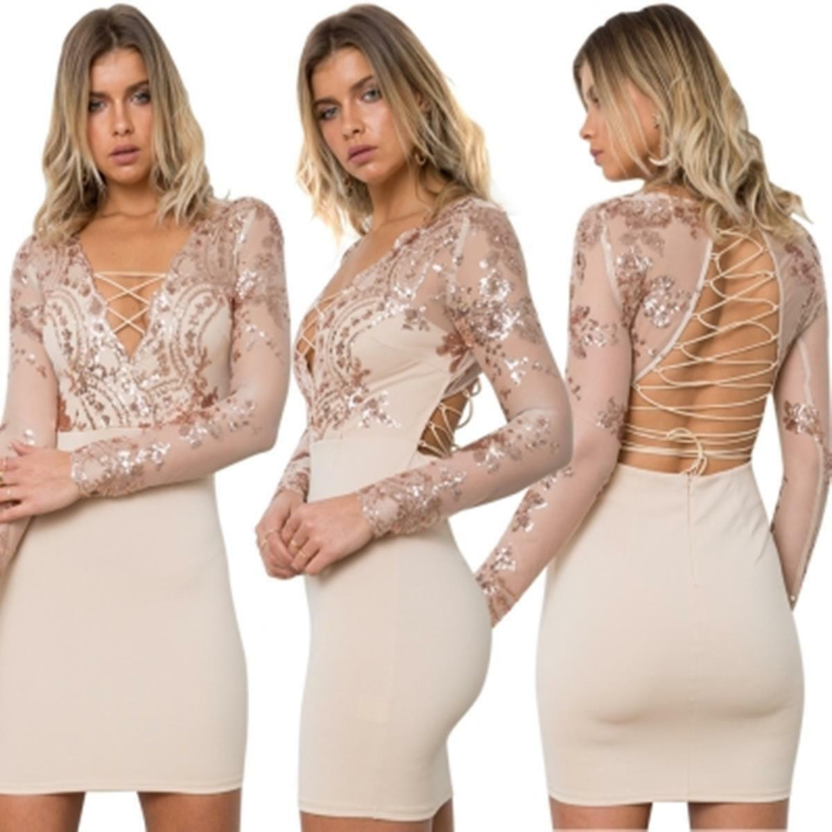 Abito Aperto ricamato Aderente Nudo Pailette Cerimonia Party Lace Sequin Dress M