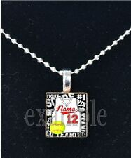 Personalized Custom Name Team SOFTBALL Jersey Scrabble Necklace Charm Keychain