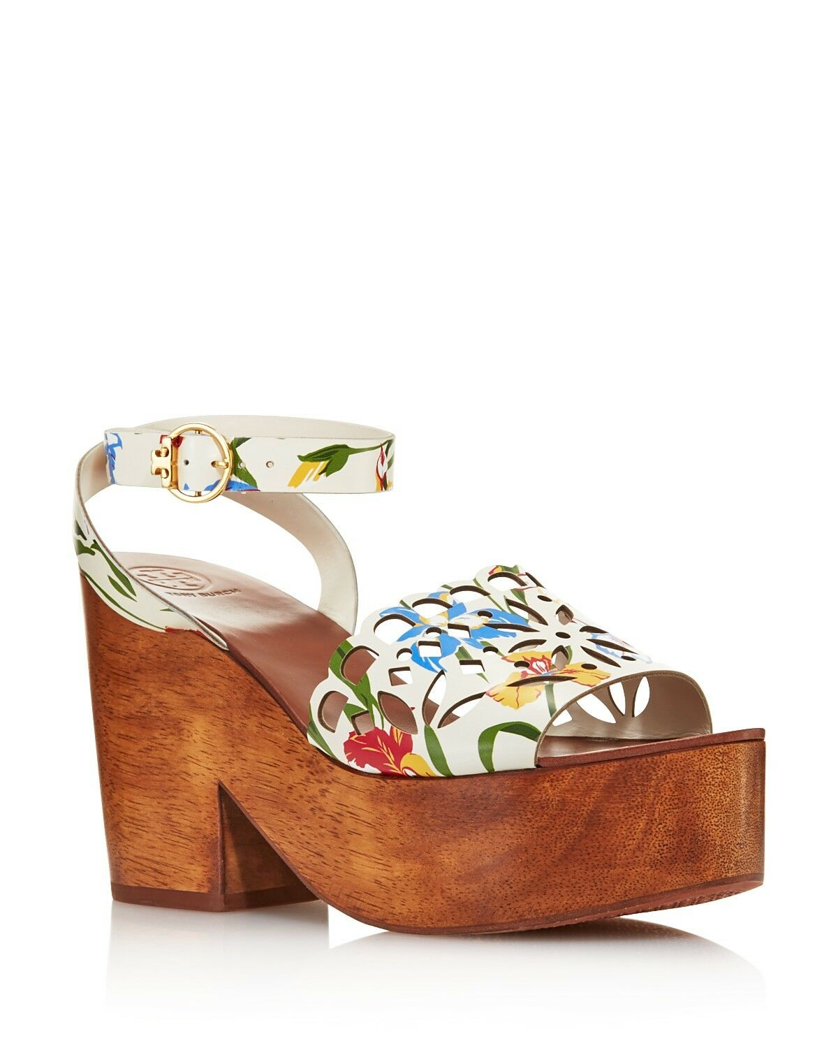 Tory Burch Femmes May May May Plateforme Cuir Sandales Talon Bloc Taille 7 Peint Iris dc889e
