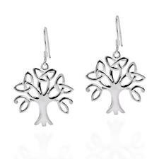 925 Sterling Silver Celtic Irish Knots Tree of Life Dangle High Polish Earrings