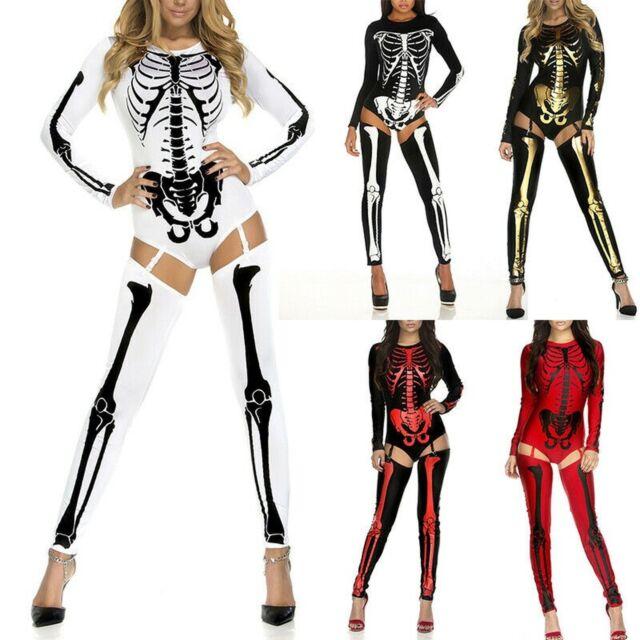 Ladies Skeleton Catsuit Costume Halloween Fancy Dress Jumpsuit Adult Womens