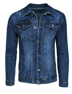 Giubbotto-di-jeans-uomo-Diamond-casual-blu-scuro-denim-giacca-giubbino-slim-fit