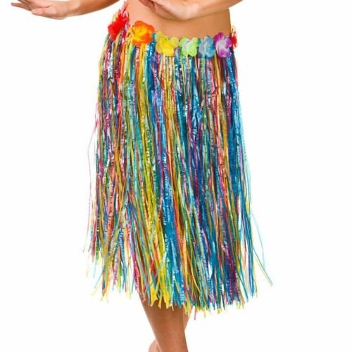 MULTICOLOUR HAWAIIAN HULA SKIRT 60cm FANCY DRESS ACCESSORY