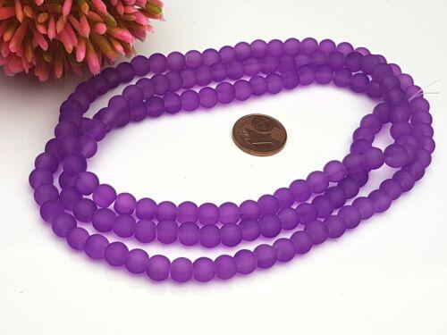 135 trozo pequeño cristal esmerilado perlas gefrostet mate satinado alrededor de ciruela lila 6 mm